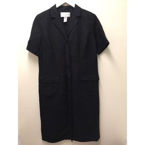 Evan Picone Size 8 Black Button Down Career Dress